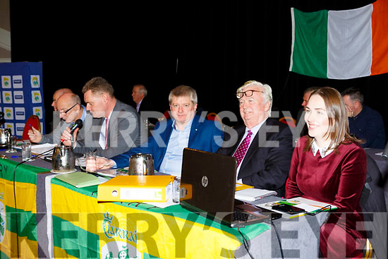 Top table Peter Twiss, Tim Murphy Chairman, Weeshie Lynch, -------------, and new PRO Leona Twiss at the Kerry GAA County Board Convention in the INEC on Monday night