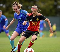 20170914 - TUBIZE ,  BELGIUM : Belgian Julie Biesmans (r) pictured in a duel with Dutch Jill Roord (left)  during the friendly female soccer game between the Belgian Red Flames and European Champion The Netherlands , a friendly game in the preparation for the World Championship qualification round for France 2019, Thurssday 14 th September 2017 at Euro 2000 Center in Tubize , Belgium. PHOTO SPORTPIX.BE | DAVID CATRY