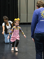 NWA Democrat-Gazette/BEN GOFF @NWABENGOFF<br /> Avery Beam, 5, of Fort Smith auditions with casting director Dayna Dantzler (left) and Rachel Burkevich, Walton Arts Center programming coordinator, Friday, March 1, 2019, during casting for the role of 'Lulu,' the lead character's 5-year-old daughter, in the upcoming production of 'Waitress' at the Walton Arts Center in Fayetteville.