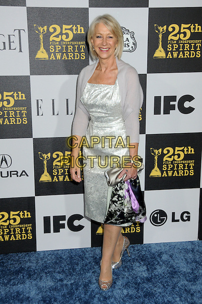 DAME HELEN MIRREN.25th Annual Film Independent Spirit Awards - Arrivals held at the Nokia Event Deck at L.A. Live, Los Angeles, California, USA..March 5th, 2010.full length  grey gray white silver dress shrug cardigan bag clutch peep toe shoes .CAP/ADM/BP.©Byron Purvis/AdMedia/Capital Pictures.