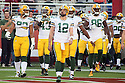 August 26 2016: Quarterback Aaron Rogers of the Green Bay Packers leading his team out before a 21-10 victory over the San Francisco 49ers at Levi's Stadium in Santa Clara, Ca.