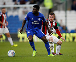 John Fleck of Sheffield Utd  had sup Bruno Ecuele Manga of Cardiff City during the Championship match at the Cardiff City Stadium, Cardiff. Picture date: August 15th 2017. Picture credit should read: Simon Bellis/Sportimage