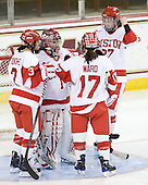 Kasey Boucher (BU - 3), Kerrin Sperry (BU - 1), Catherine Ward (BU - 17), Tara Watchorn (BU - 27) - The Northeastern University Huskies tied Boston University Terriers 3-3 in the 2011 Beanpot consolation game on Tuesday, February 15, 2011, at Conte Forum in Chestnut Hill, Massachusetts.