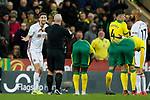 Chris Basham of Sheffield United is sent off by referee Simon Hooper but it is later over turned by VAR during the Premier League match at Carrow Road, Norwich. Picture date: 8th December 2019. Picture credit should read: James Wilson/Sportimage