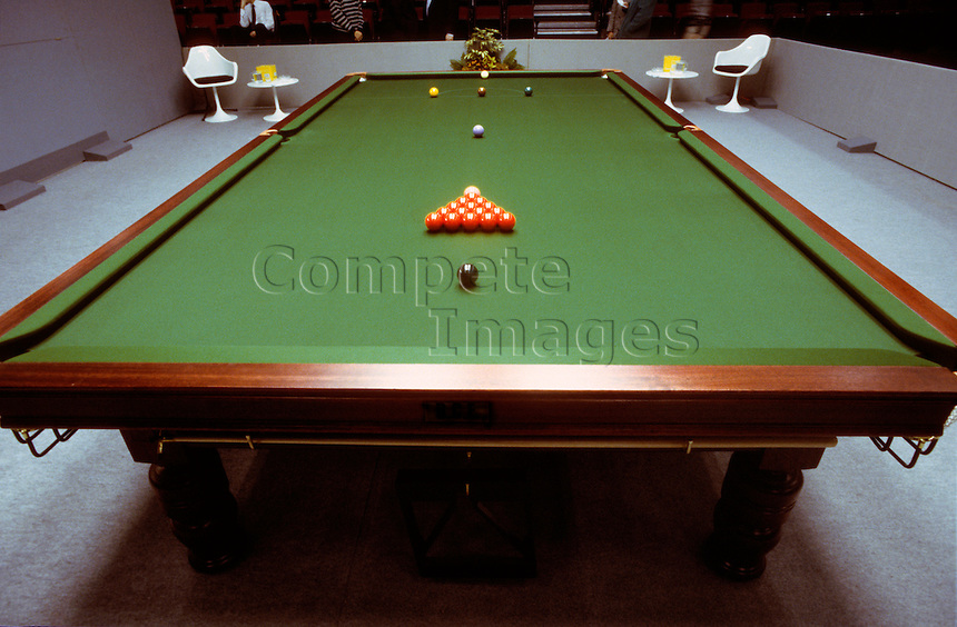 Snooker balls in formation on a snooker table