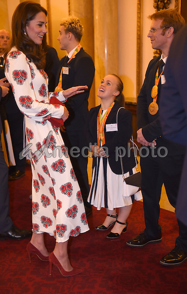 18 October 2016 - London, England - Princess Kate Duchess of Cambridge at a reception for Team GB and ParalympicsGB medallists from the 2016 Rio Olympic and Paralympic Games Buckingham Palace London. Photo Credit: Alpha Press/AdMedia
