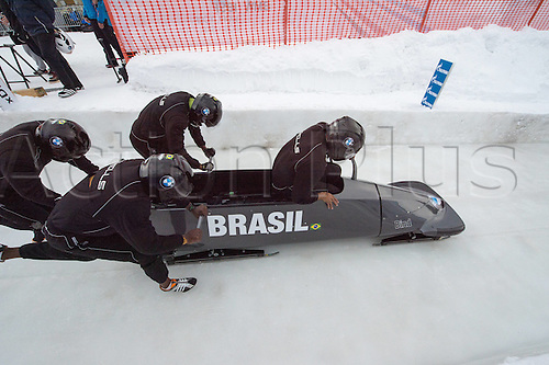 05.02.2016. St Moritz, Switzerland. FIBT 4-Man bobsleigh world championships. Practise day.  Edson Bindilatti (BRA) leads his team down the course