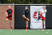 Allston, MA - Sunday, May 1, 2016:  Portland Thorns FC midfielder Allie Long (10), midfielder Tobin Heath (17) and defender Katherine Reynolds (2) during warmups before a game with the Boston Breakers at Jordan Field, Harvard University.