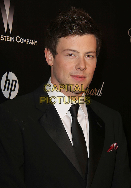 Cory Monteith.The Weinstein Company 2012 Golden Globe Awards After Party held at  Bar 210 at the Beverly Hilton Hotel, Hollywood, California, USA..January 15th, 2012.globes headshot portrait black white tie suit.CAP/ADM/CH.©Charles Harris/AdMedia/Capital Pictures
