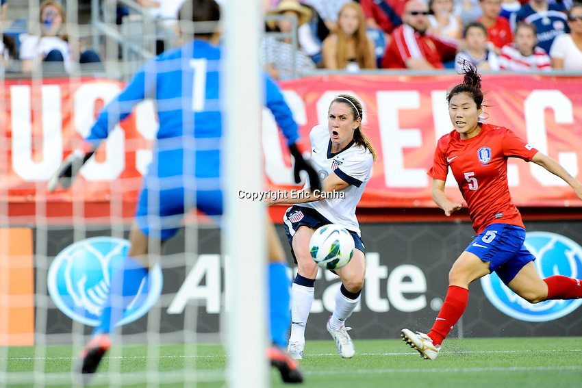 US Womens National midfielder Heather O'Reilly (9) shoots on Korea Republic goalkeeper Kim Jungmi (1) action during the International Friendly soccer match between the USA Women's National team and the Korea Republic Women's Team held at Gillette Stadium in Foxborough Massachusetts.   Eric Canha/CSM