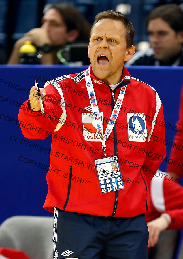 BELGRADE, SERBIA - DECEMBER 08: Head coach Thorir Hergeirsson of Norway reacts during the Women's European Handball Championship 2012 Group A match between Norway and Ukraine at Arena Hall on December 08, 2012 in Belgrade, Serbia. (Photo by Srdjan Stevanovic/Getty Images)
