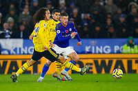 9th November 2019; King Power Stadium, Leicester, Midlands, England; English Premier League Football, Leicester City versus Arsenal; Harvey Barnes of Leicester City attempts to break past Matteo Guendouzi of Arsenal - Strictly Editorial Use Only. No use with unauthorized audio, video, data, fixture lists, club/league logos or 'live' services. Online in-match use limited to 120 images, no video emulation. No use in betting, games or single club/league/player publications