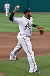 Reno Aces thrid basemen Josh Bell makes the throw to frist agianst the Colorado Sky Sox during their game on Wednesday night July 25, 2012 at Aces Ballpark in Reno NV.