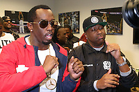 NEWARK, NJ - SEPTEMBER 25: Diddy and Slim pictured backstage at the Bad Boy Family Reunion concert at The Prudential Center in Newark, New Jersey on September 25, 2016. Credit: Walik Goshorn/MediaPunch