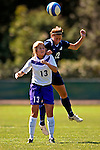 2 September 2007: University of New Hampshire Wildcats' Alli Rozelle (right), a Freshman from Stratham, NH, battles University of Central Arkansas Sugar Bears' Stacy Pierce, a Junior from Searcy, Ark., at Historic Centennial Field in Burlington, Vermont. The Wilcats shut out the Sugar Bears 3-0 during the TD Banknorth Soccer Classic...Mandatory Photo Credit: Ed Wolfstein Photo