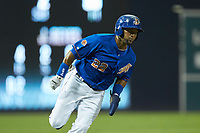 Emilio Bonifacio (22) of the Durham Bulls rounds third base during the game against the Louisville Bats at Durham Bulls Athletic Park on May 28, 2019 in Durham, North Carolina. The Bulls defeated the Bats 18-3. (Brian Westerholt/Four Seam Images)