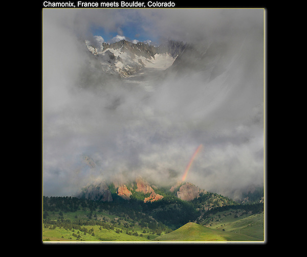 Photo-composite of French Alps, Rocky Mountains and some weather.