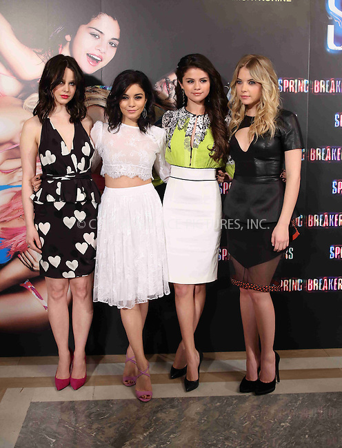 WWW.ACEPIXS.COM....US Sales Only....February 21 2013, Madrid....Rachel Korine, Vanessa Hudgens, Selena Gomez and Ashley Benson at the premiere of 'Spring Breakers' on February 21 2013 in Madrid ....By Line: Famous/ACE Pictures......ACE Pictures, Inc...tel: 646 769 0430..Email: info@acepixs.com..www.acepixs.com