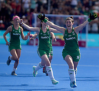 Ireland's Roisin Upton celebrates her team getting into the final<br /> <br /> Photographer Hannah Fountain/CameraSport<br /> <br /> Vitality Hockey Women's World Cup - Ireland v Spain - Saturday 4th August 2018 - Lee Valley Hockey and Tennis Centre - Stratford<br /> <br /> World Copyright &copy; 2018 CameraSport. All rights reserved. 43 Linden Ave. Countesthorpe. Leicester. England. LE8 5PG - Tel: +44 (0) 116 277 4147 - admin@camerasport.com - www.camerasport.com