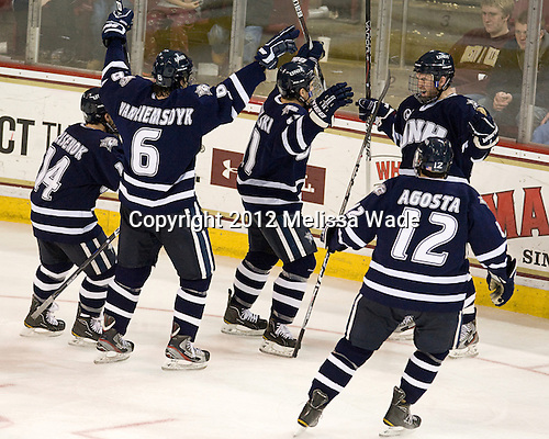 Mike Borisenok (UNH - 14), Trevor van Riemsdyk (UNH - 6),Scott Pavelski (UNH - 11), Brett Kostolansky (UNH - 15), Justin Agosta (UNH - 12) - The Boston College Eagles defeated the visiting University of New Hampshire Wildcats 4-3 on Friday, January 27, 2012, in the first game of a back-to-back home and home at Kelley Rink/Conte Forum in Chestnut Hill, Massachusetts.