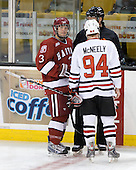 Alex Biega (Harvard - 3), Tyler McNeely (NU - 94) - The Northeastern University Huskies defeated the Harvard University Crimson 4-1 (EN) on Monday, February 8, 2010, at the TD Garden in Boston, Massachusetts, in the 2010 Beanpot consolation game.