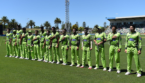 03.02.2015. Napier, New Zealand.  Pakistan team line up. ANZ One Day International Cricket Series. Match 2 between New Zealand Black Caps and Pakistan at McLean Park in Napier, New Zealand.