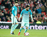 FC Barcelona's Gerard Pique (l) and Leo Messi during Spanish Kings Cup match. January 05,2017. (ALTERPHOTOS/Acero)