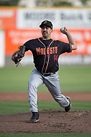Modesto Nuts starting pitcher Danny Garcia (14) delivers a pitch during a California League game against the San Jose Giants at San Jose Municipal Stadium on May 15, 2018 in San Jose, California. Modesto defeated San Jose 7-5. (Zachary Lucy/Four Seam Images)