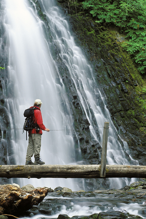 Woman in red jacket on log bridge over Unicorn Creek with Martha Falls in background, Mount Rainier National Park, Washington
