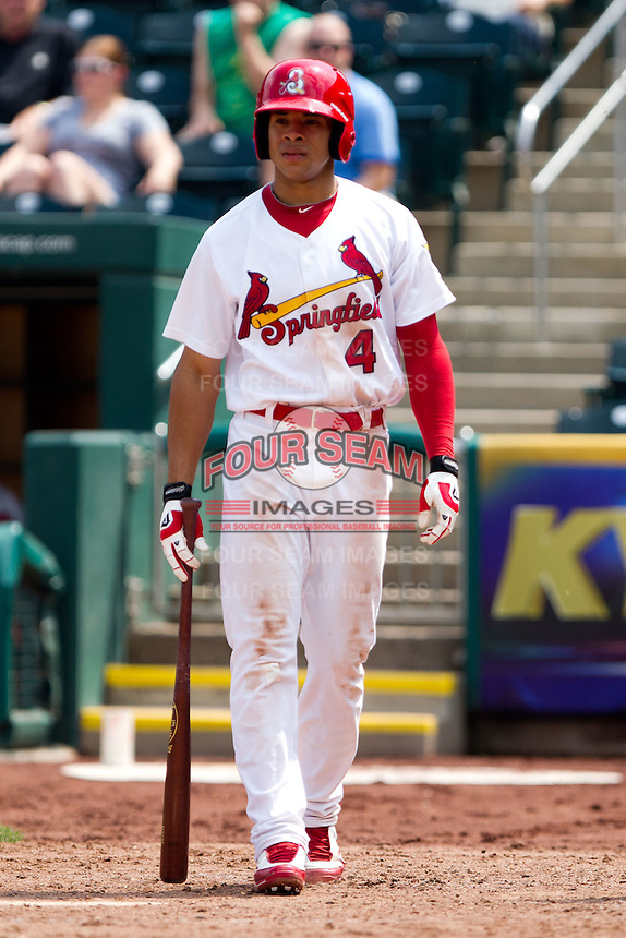 Thomas Pham (4) of the Springfield Cardinals walks to the plate during a game against the Midland RockHounds on April 19, 2011 at Hammons Field in Springfield, Missouri.  Photo By David Welker/Four Seam Images