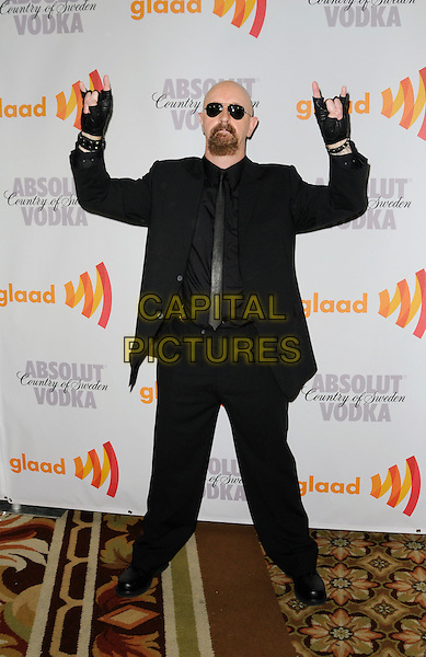 ROB HALFORD .arriving at the 21st Annual GLAAD Media Awards at the Hyatt Century Plaza Hotel in Century City, California, USA, April 17th, 2010..arrivals full length black fingerless gloves suit tie sunglasses beard goatee facial hair hands gesture .CAP/ROT.©Lee Roth/Capital Pictures