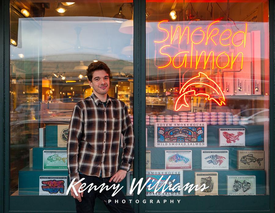 Smoked Salmon Storefront & Employee, Pike Place Market, Seattle, WA, USA.