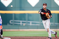 Miami Hurricanes shortstop Brandon Lopez (51) turns a double play against the Florida Gators in the NCAA College World Series on June 13, 2015 at TD Ameritrade Park in Omaha, Nebraska. Florida defeated Miami 15-3. (Andrew Woolley/Four Seam Images)