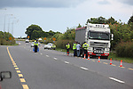 Cross agency checkpoint on the Link road between N1 and the M1, Garda, Customs and Louth County Council offficials maned the checkpoint..Photo: Fran Caffrey/www.newsfile.ie...