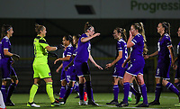 20190920 – LEUVEN, BELGIUM : RSC Anderlecht's  goal keeper Justien Odeurs (23) and defender Britt Vanhamel are pictured celebrating Tine De Caigny's goal during a women soccer game between Dames Oud Heverlee Leuven A and RSC Anderlecht Ladies on the fourth matchday of the Belgian Superleague season 2019-2020 , the Belgian women's football  top division , friday 20 th September 2019 at the Stadion Oud-Heverlee Korbeekdam in Oud Heverlee  , Belgium  .  PHOTO SPORTPIX.BE   SEVIL OKTEM