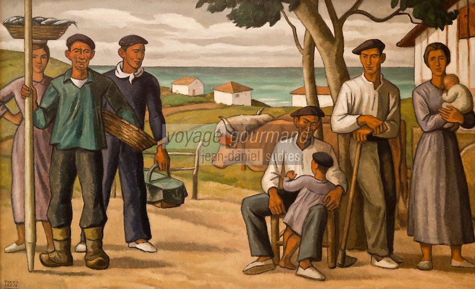 Europe/France/Aquitaine/64/Pyrénées-Atlantiques/Pays-Basque/Bayonne: Musée Basque - Paysans et pêcheurs par Ramiro (Bilbao et St Jean de Luz 1927)