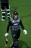 New Zealand's Martin Guptill walks off after being dismissed  for 27 during the 4th Twenty20 International cricket match between NZ Black Caps and England at McLean Park in Napier, New Zealand on Friday, 8 November 2019. Photo: Dave Lintott / lintottphoto.co.nz
