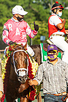 "JULY 04, 2020 : Vekoma with Javier Castellano aboard, wins the ""Win and You're In"" Grade 1 Metropolitan Handicap, going 1 mile, at Belmont Park, Elmont, NY.  Sue Kawczynski/Eclipse Sportswire/CSM"