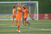 Christie Rampone (3) of Sky Blue FC puts on the captain's arm band after entering the game. The Philadelphia Independence defeated Sky Blue FC 2-1 during a Women's Professional Soccer (WPS) match at John A. Farrell Stadium in West Chester, PA, on June 6, 2010.