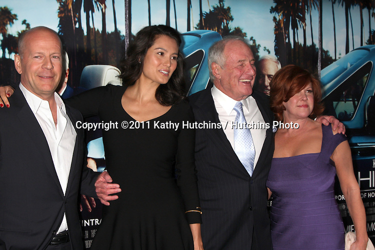 """LOS ANGELES - MAR 22:  Bruce Willis, Emma Heming, Jerry Weintraub, wife arrives at the HBO's """"His Way"""" Los Angeles Premiere at Paramount Theater on March 22, 2011 in Los Angeles, CA"""
