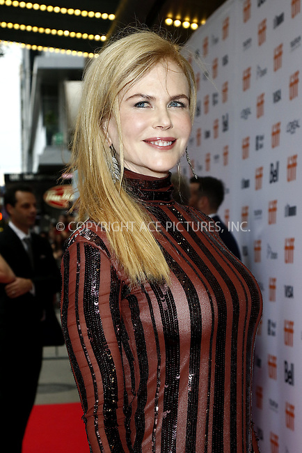 www.acepixs.com<br /> <br /> September 10 2016, Toronto<br /> <br /> Actress Nicole Kidman arriving at the premiere of 'Lion' during the 2016 Toronto International Film Festival at the Princess of Wales Theatre on September 10, 2016 in Toronto, Canada<br /> <br /> By Line: Famous/ACE Pictures<br /> <br /> <br /> ACE Pictures Inc<br /> Tel: 6467670430<br /> Email: info@acepixs.com<br /> www.acepixs.com