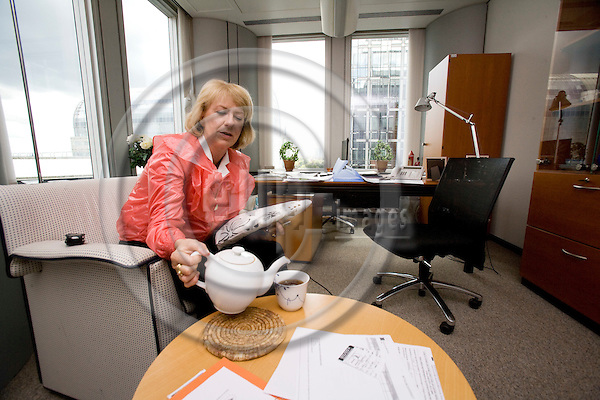 BRUSSELS - BELGIUM - 18 MAY 2009 -- Danish MEP Karin RIIS-JØRGENSEN (Jorgensen) with a cup of tea at her office the in the EU Parliament. Photo: Erik Luntang/EUP-IMAGES