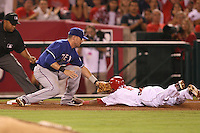 08/16/11 Anaheim, CA: Texas Rangers third baseman Michael Young #10 during an MLB game played between the Texas Rangers and the Los Angeles Angels at Angel Stadium. The Rangers defeated the Angels 7-3.