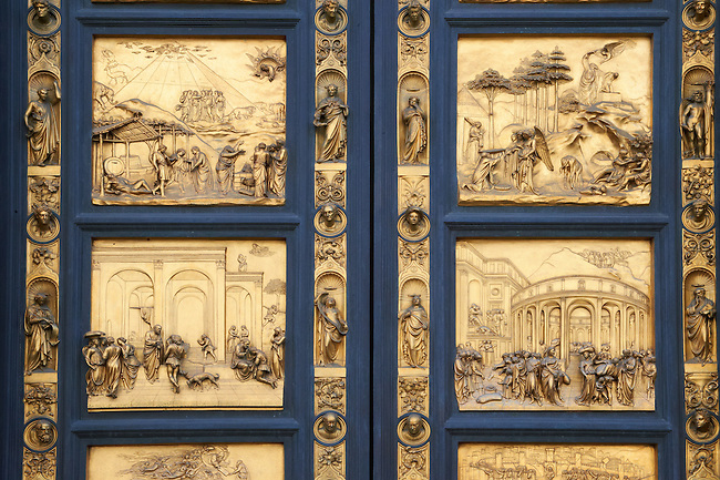 "Scenes from the early Renaissance "" Gates of Paradise"" door of the Baptistry of Florence ( Battistero di San Giovanni ) made by Ghiberti in 1425 , made in bronze and guilded in gold. The Bapistry of the Duomo, Florence Italy"