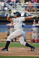Staten Island Yankees designated hitter Isaias Tejeda (27) at bat during a game against the Batavia Muckdogs on August 6, 2014 at Dwyer Stadium in Batavia, New York.  Batavia defeated Staten Island 5-3.  (Mike Janes/Four Seam Images)
