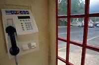 Public telephone in a phone box, Sintra, Portugal.