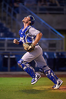 Midland RockHounds catcher Carson Blair (22) looks for a foul ball popup during a game against the Tulsa Drillers on June 2, 2015 at Oneok Field in Tulsa, Oklahoma.  Midland defeated Tulsa 6-5.  (Mike Janes/Four Seam Images)