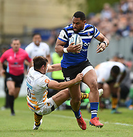Joe Cokanasiga of Bath Rugby clashes with Rob Miller of Wasps. Gallagher Premiership match, between Bath Rugby and Wasps on May 5, 2019 at the Recreation Ground in Bath, England. Photo by: Patrick Khachfe / Onside Images