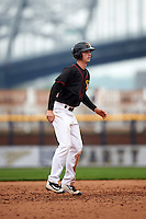 Quad Cities River Bandits center fielder Kyle Tucker (19) leads off second during a game against the Burlington Bees on May 9, 2016 at Modern Woodmen Park in Davenport, Iowa.  Quad Cities defeated Burlington 12-4.  (Mike Janes/Four Seam Images)