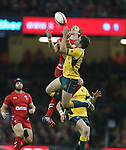 Wales wing Liam Williams and Australian outside half Bernard Foley compete for the high ball.<br /> Dove Men Series 2014<br /> Wales v Australia<br /> Millennium Stadium<br /> 08.11.14<br /> &copy;Steve Pope-SPORTINGWALES